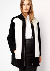 Black White Patchwork Wool Coat