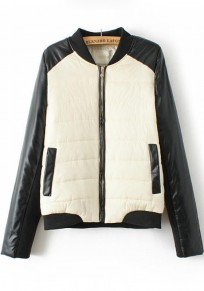 Black White Patchwork Padded Coat