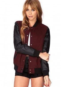 Wine Red Patchwork Leather Jacket