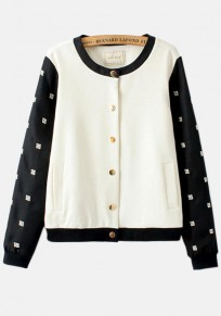 Black-White Patchwork Embroidery Jacket