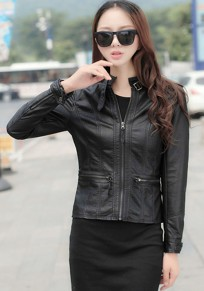Black Plain Epaulet Leather Jacket