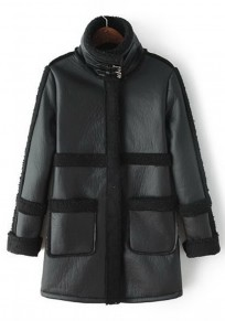 Black Patchwork High Neck Coat