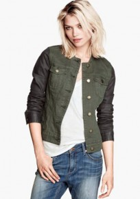 Army Green Patchwork Pockets Trench Coat