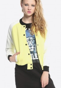 Yellow Patchwork Buttons Trench Coat