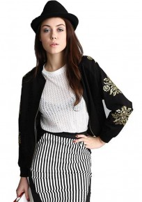 Black Flowers Embroidery Trench Coat