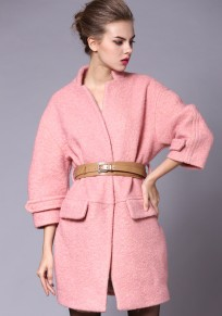 Pink Plain Belt Half Sleeve Wool Coat
