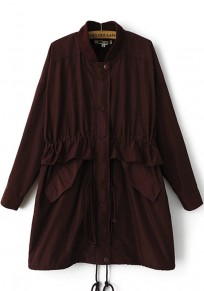 Dark Red Plain Drawstring Trench Coat