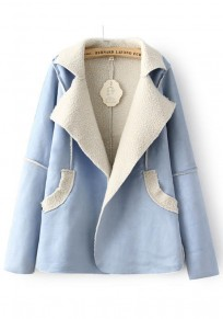 Blue Patchwork Pockets Coat
