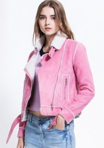 Pink Patchwork Drawstring Coat