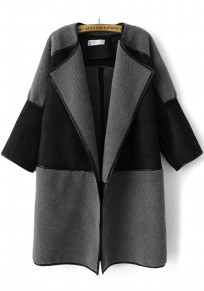 Dark Grey Patchwork Seven's Sleeve Suede Coat