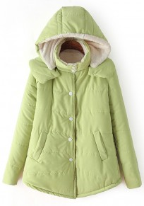 Green Plain Hooded Cute Padded Coat