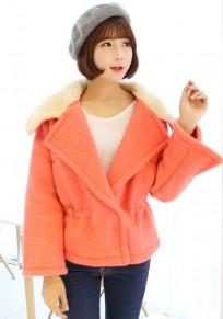 Orange Pink Plain Fur Wool Coat