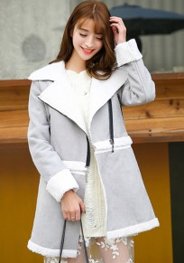 Grey Plain Zipper Long Sleeve Coat