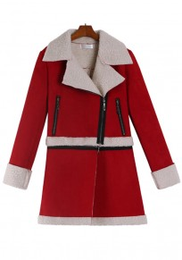 Red Patchwork Zipper Fashion Suede Coat