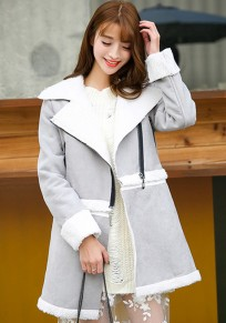 Grey Patchwork Zipper Fashion Suede Coat
