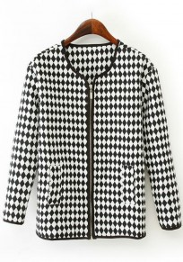 White Plaid Print Zipper Trench Coats