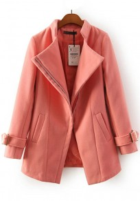 Pink Plain Pockets Wool Coat