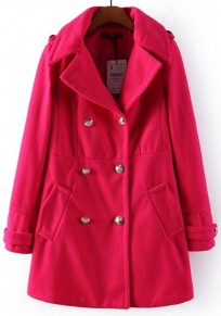 Red Plain Buttons Wool Coat
