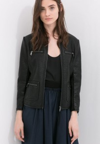 Black Plain Zipper Leather Coat