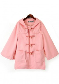 Pink Plain Pockets Collar With Hat Cape