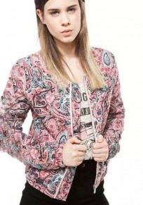 Multicolor Floral Print Padded Coat