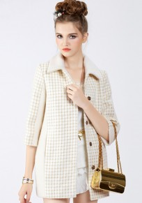 Beige Patchwork Bright Wire Wool Coat