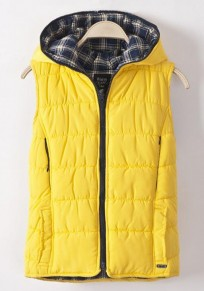 Yellow Plain Collar With Hat Vest