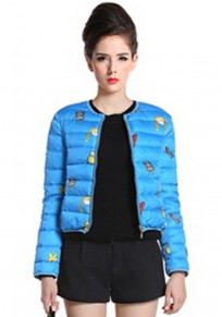 Blue Cartoon Print Padded Coat