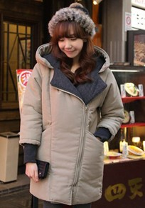 Light Green Plain Collar With Hat Padded Coat