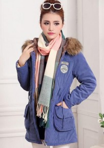 Blue Plain Drawstring Collar With Hat Parka