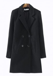 Black Plain Pockets Double Breasted Wool Coat