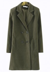 Army Green Plain Pockets Double Breasted Wool Coat