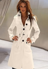 Manteau de bureau avec ceinture boutonnage manches longues trench-coat femme mode blanc