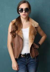 Coffee Plain Zipper Suede Vest