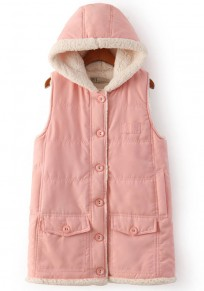 Pink Plain Single Breasted Vest