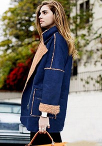 Blue Patchwork Pockets Suede Coat
