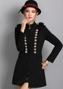 Black Plain Epaulet Double Breasted Trench Coat