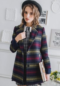 Multicolor Striped Pockets Wool Coat