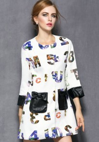 White Letter Patchwork PU Leather 3/4 Sleeve Coat