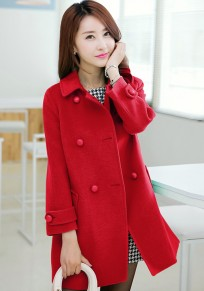 Red Plain Belt Double Breasted Wool Coat