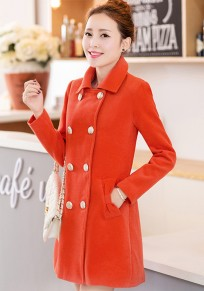 Orange Plain Belt Double Breasted Wool Coat