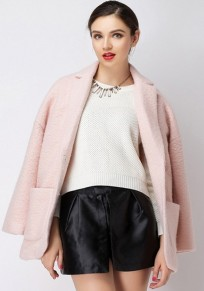 Pink Plain Pockets Tailored Collar Tweed Coat