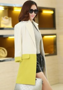 Yellow Color Block Pockets Tailored Collar Wool Coat