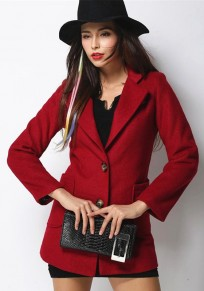 Red Plain Single Breasted Fur Collar Wool Coat