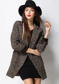 Coffee Plaid Tailored Collar Wool Coat