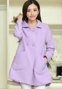 Purple Plain Belt Turndown Collar Wool Coat
