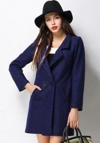 Blue Plain Double Breasted Wool Coat