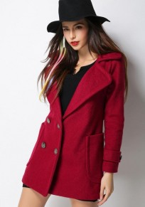 Red Plain Pockets Belt Double Breasted Wool Coat
