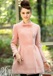 Pink Plain Bow Band Collar Wool Coat