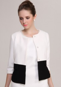 White-Black Color Block Pockets Single Breasted Coat